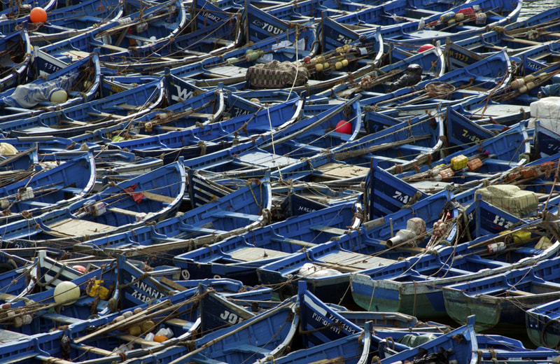 Boats in Blue Essaouira Morocco
